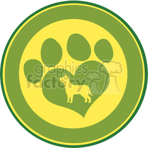 Illustration Love Paw Print Green Circle Banner Design With Dog Silhouette clipart. Commercial use image # 395648