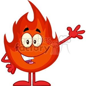 Royalty Free RF Clipart Illustration Happy Fire Cartoon Mascot Character Waving clipart. Commercial use image # 395718
