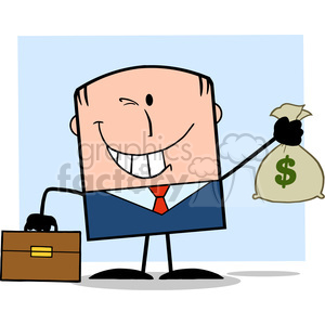 Royalty Free RF Clipart Illustration Winking Businessman With Briefcase Holding A Money Bag Cartoon Character On Background clipart. Royalty-free image # 395728
