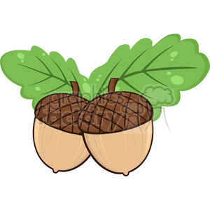 Royalty Free RF Clipart Illustration Two Acorn With Oak Leaves Cartoon Illustrations