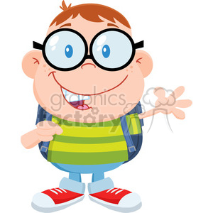 Royalty Free RF Clipart Illustration Happy Geek Boy Waving Flat Design clipart. Commercial use image # 395758