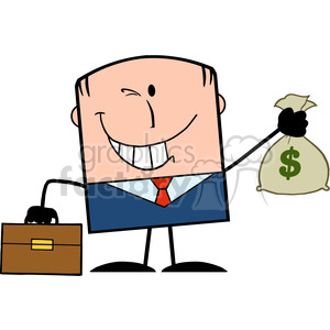 Royalty Free RF Clipart Illustration Winking Businessman With Briefcase Holding A Money Bag Cartoon Character clipart. Royalty-free image # 395768