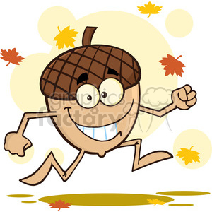 Royalty Free RF Clipart Illustration Happy Acorn Cartoon Mascot Character Running With Fall Leaves Background clipart. Royalty-free icon # 395788