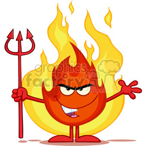 Royalty Free RF Clipart Illustration Evil Fire Cartoon Mascot Character Holding Up A Pitchfork In Front Of Flames clipart. Commercial use image # 395798
