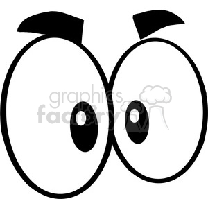 Royalty Free RF Clipart Illustration Black And White Mad Cartoon Eyes clipart. Royalty-free image # 395808