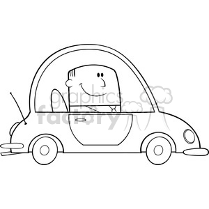 Royalty Free RF Clipart Illustration Black And White Businessman Driving Car To Work Cartoon Character clipart. Royalty-free image # 395848