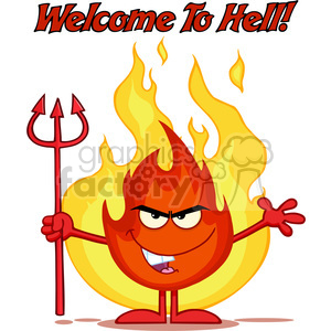 Royalty Free RF Clipart Illustration Evil Fire Cartoon Mascot Character Holding Up A Pitchfork In Front Of Flames With Text clipart. Royalty-free image # 395858