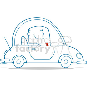 Royalty Free RF Clipart Illustration Businessman Driving Car To Work Monochrome Cartoon Character clipart. Royalty-free image # 395868
