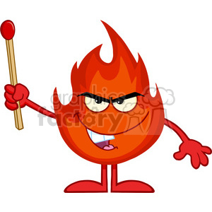 Royalty Free RF Clipart Illustration Evil Fire Cartoon Mascot Character Holding Up A Match Stick clipart. Commercial use image # 395878