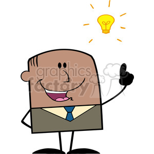 Royalty Free RF Clipart Illustration Happy African American Businessman With A Bright Idea Cartoon Character clipart. Royalty-free image # 395918