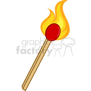 Royalty Free RF Clipart Illustration Burning Match Stick clipart. Commercial use image # 395968