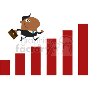 8293 Royalty Free RF Clipart Illustration African American Manager Running Over Growth Bar Graph Flat Design Style Vector Illustration