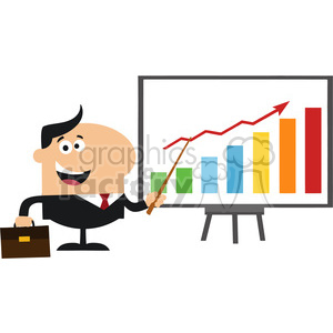 8349 Royalty Free RF Clipart Illustration Happy Manager Pointing To A Growth Chart On A Board Flat Style Vector Illustration clipart. Commercial use image # 396020