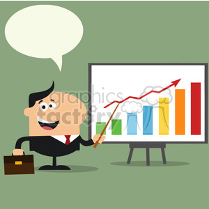 8350 Royalty Free RF Clipart Illustration Happy Manager Pointing To A Growth Chart On A Board Flat Style Vector Illustration With Speech Bubble