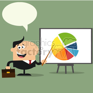 8352 Royalty Free RF Clipart Illustration Happy Manager Pointing Progressive Pie Chart On A Board Flat Style Vector Illustration With Speech Bubble clipart. Royalty-free image # 396049