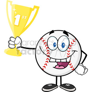 Happy Baseball Ball Holding First Prize Trophy Cup clipart. Royalty-free image # 396059