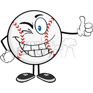 Winking Baseball Ball with hat Cartoon Mascot Character Holding A Thumb Up clipart. Royalty-free image # 396079