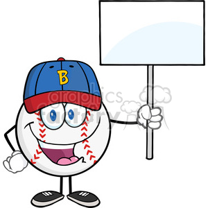 Happy Baseball Ball with hat Holding A Blank Sign clipart. Commercial use image # 396089