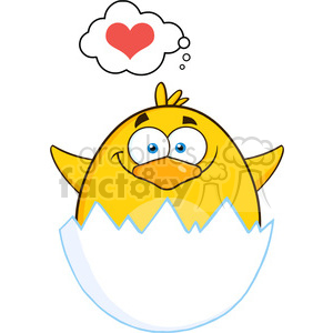8594 Royalty Free RF Clipart Illustration Surprise Yellow Chick Cartoon Character Out Of An Egg Shell With Speech Bubble With Heart Vector Illustration Isolated On White clipart. Commercial use image # 396099