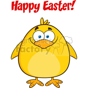 8588 Royalty Free RF Clipart Illustration Happy Easter With Smiling Yellow Chick Cartoon Character Vector Illustration Isolated On White clipart. Royalty-free image # 396119