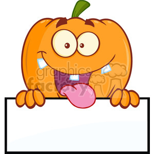 Royalty Free RF Clipart Illustration Goofy Halloween Pumpkin Cartoon Mascot Character Over A Blank Sign clipart. Royalty-free image # 396179