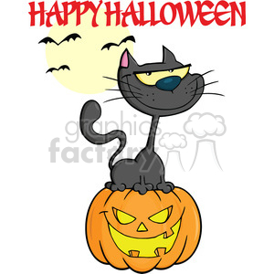 Royalty Free RF Clipart Illustration Halloween Cat On Pumpkin Cartoon Character With Text clipart. Royalty-free image # 396189