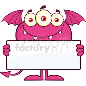 8919 Royalty Free RF Clipart Illustration Smiling Pink Monster Cartoon Character Holding A Blank Sign Vector Illustration Isolated On White