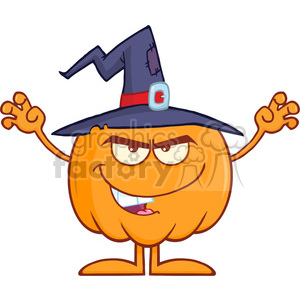 Royalty Free RF Clipart Illustration Scaring Halloween Pumpkin With A Witch Hat clipart. Royalty-free image # 396219
