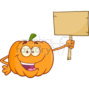 Royalty Free RF Clipart Illustration Funny Halloween Jackolantern Pumpkin Cartoon Mascot Character Holding A Wooden Board clipart. Royalty-free image # 396239