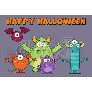 8941 Royalty Free RF Clipart Illustration Happy Funny Monsters Cartoon Characters Vector Illustration Greeting Card