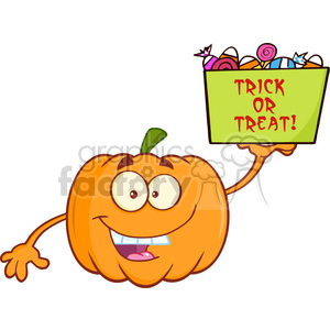 Royalty Free RF Clipart Illustration Funny Halloween Jackolantern Pumpkin Cartoon Mascot Character With Open Arms For Hugging And Speech Bubble With Heart clipart. Commercial use image # 396259