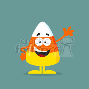 8871 Royalty Free RF Clipart Illustration Funny Candy Corn Flat Design Waving Vector Illustration With Bacground