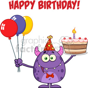 8914 Royalty Free RF Clipart Illustration Cute Monster Holding Up A Colorful Balloons And Birthday Cake Vector Illustration Isolated On White With Text