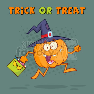 8900 Royalty Free RF Clipart Illustration Funny Witch Pumpkin Cartoon Character Running With A Halloween Candy Basket Vector Illustration Greeting Card