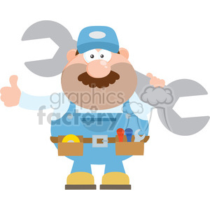 8548 Royalty Free RF Clipart Illustration Mechanic Cartoon Character Holding Huge Wrench And Giving A Thumb Up Flat Syle Vector Illustration Isolated On White clipart. Commercial use image # 396329