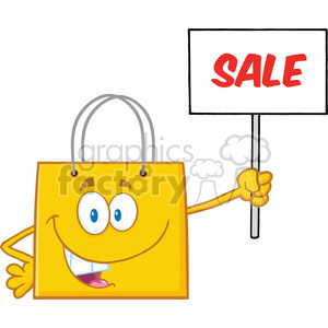 8760 Royalty Free RF Clipart Illustration Yellow Shopping Bag Cartoon Character Holding Up A Blank Sign With Text Vector Illustration Isolated On White clipart. Royalty-free image # 396351