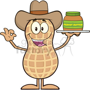 8641 Royalty Free RF Clipart Illustration Cowboy Peanut Cartoon Character Holding A Jar Of Peanut Butter Vector Illustration Isolated On White clipart. Royalty-free image # 396355