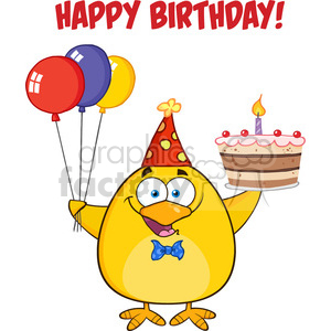 8619 Royalty Free RF Clipart Illustration Happy Birthday With Chick Holding Up A Colorful Balloons And Birthday Cake Vector Illustration Isolated On White With Text clipart. Commercial use image # 396363