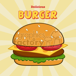 8516 Royalty Free RF Clipart Illustration Delicious Burger Design Card With Text Vector Illustration