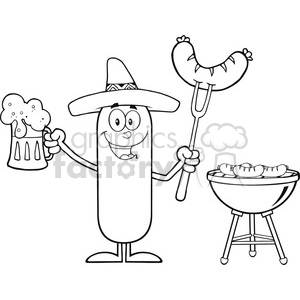 8471 Royalty Free RF Clipart Illustration Black And White Happy Mexican Sausage Cartoon Character Holding A Beer And Weenie Next To BBQ Vector Illustration Isolated On White clipart. Commercial use image # 396409