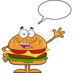 8562 Royalty Free RF Clipart Illustration Happy Hamburger Cartoon Character Waving With Speech Bubble Vector Illustration Isolated On White clipart. Commercial use image # 396435