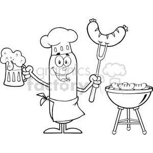 8462 Royalty Free RF Clipart Illustration Black And White Happy Chef Sausage Cartoon Character Holding A Beer And Weenie Next To BBQ Vector Illustration Isolated On White