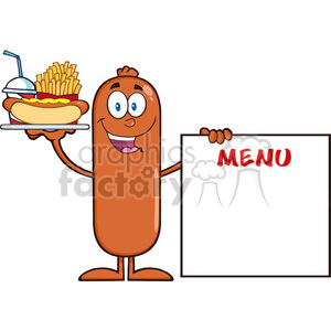 8494 Royalty Free RF Clipart Illustration Happy Sausage Cartoon Character Carrying A Hot Dog, French Fries And Cola Next To Menu Board Vector Illustration Isolated On White