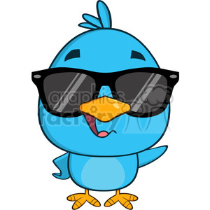 8823 Royalty Free RF Clipart Illustration Cute Blue Bird With Sunglasses Cartoon Character Waving Vector Illustration Isolated On White clipart. Royalty-free image # 396503