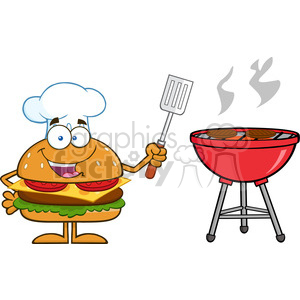 8571 Royalty Free RF Clipart Illustration Chef Hamburger Cartoon Character Holding A Slotted Spatula By A Barbeque Vector Illustration Isolated On White clipart. Royalty-free image # 396505