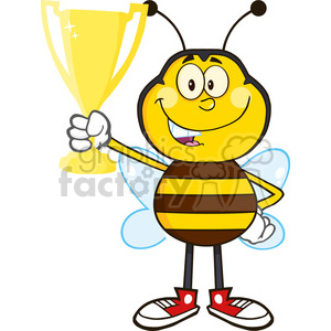 8378 Royalty Free RF Clipart Illustration Bee Cartoon Mascot Character Holding A Golden Trophy Vector Illustration Isolated On White clipart. Royalty-free image # 396533