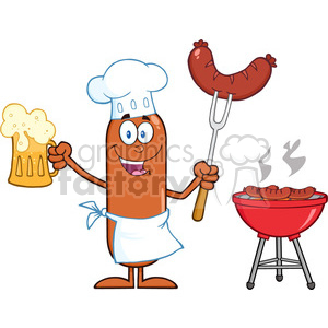 8463 Royalty Free RF Clipart Illustration Happy Chef Sausage Cartoon Character Holding A Beer And Weenie Next To BBQ Vector Illustration Isolated On White clipart. Commercial use image # 396557