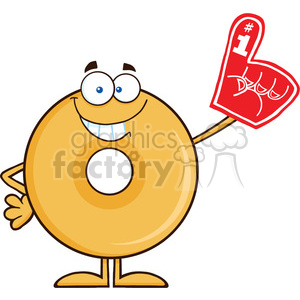 8659 Royalty Free RF Clipart Illustration Smiling Donut Cartoon Character Wearing A Foam Finger Vector Illustration Isolated On White