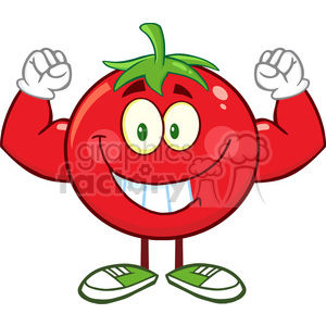 8391 Royalty Free RF Clipart Illustration Strong Tomato Cartoon Mascot Character Flexing Vector Illustration Isolated On White clipart. Commercial use image # 396591