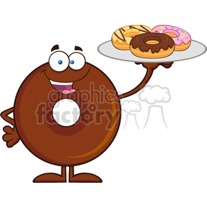 8721 Royalty Free RF Clipart Illustration Chocolate Donut Cartoon Character Serving Donuts Vector Illustration Isolated On White clipart. Royalty-free image # 396605